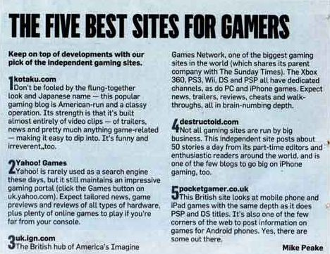 The Sunday Times: Pocket Gamer one of the 'best sites for