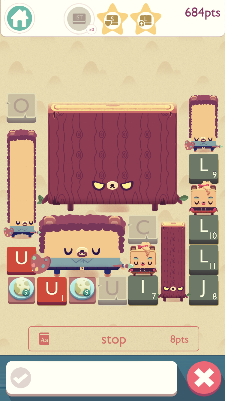 Alphabear 2 iOS review screenshot - Late in a game