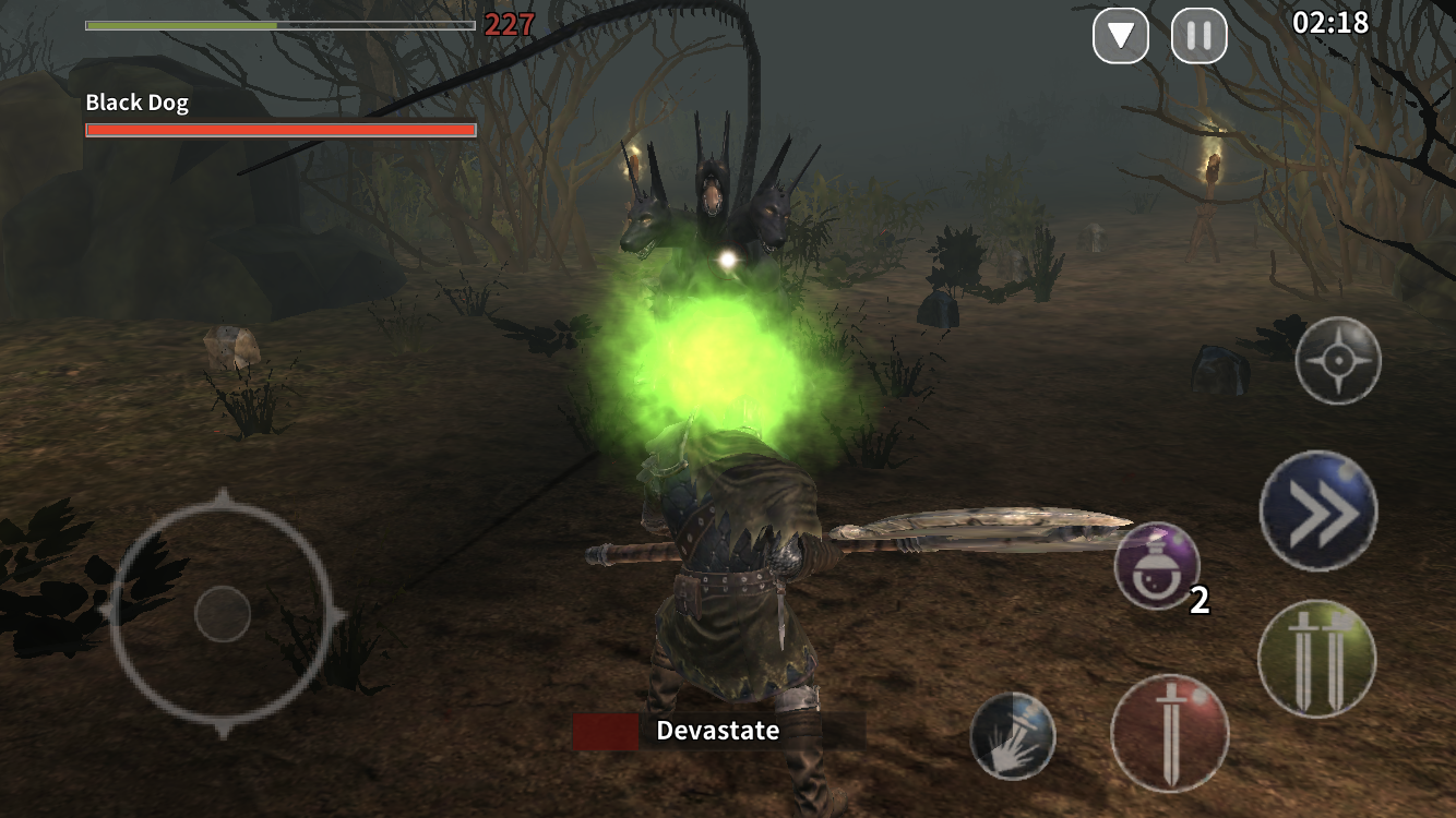 Animus - Harbinger iOS review screenshot - Fighting a three-headed, poisonous dog
