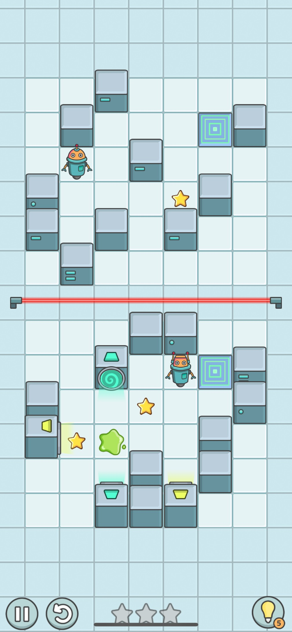 Beep Boop Bots iOS screenshot - A puzzle with portals and goo