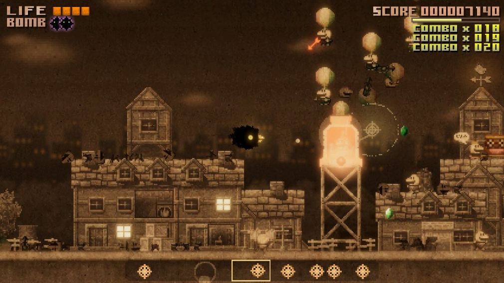 Black Bird Switch Screenshot Level One Balloon Enemies Sepia Toned Houses