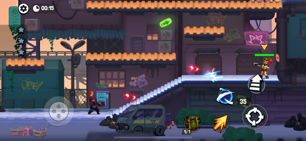 Bombastic Brothers iOS review screenshot - Sniping on an urban level