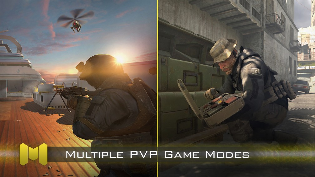Call of Duty Mobile iOS screenshot - Promo shot showing different multiplayer modes
