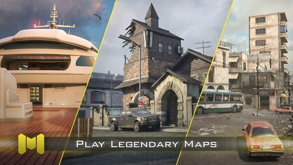 Call of Duty Mobile iOS screenshot - Promo shot showing off three of the classic maps
