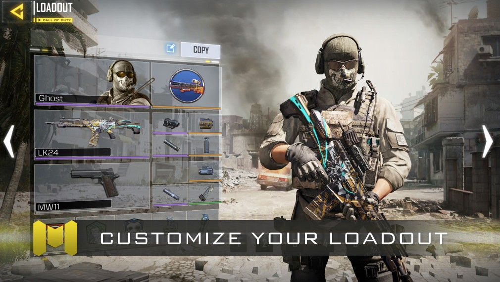 Call of Duty Mobile iOS screenshot - Promo shot showing off the loadout screen