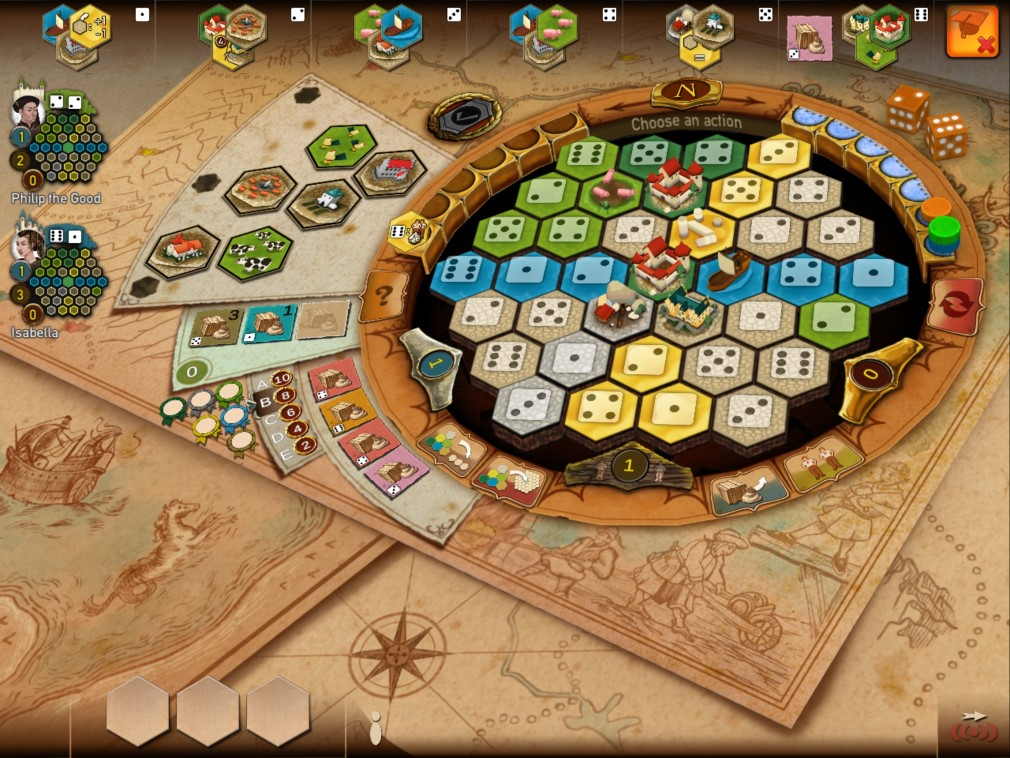 Castles of Burgundy iOS Screenshot Board Overview