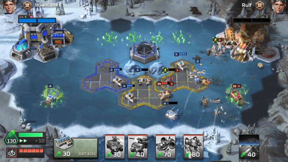 Command and Conquer: Rivals iOS review screenshot - Fighting in the centre of a cold level