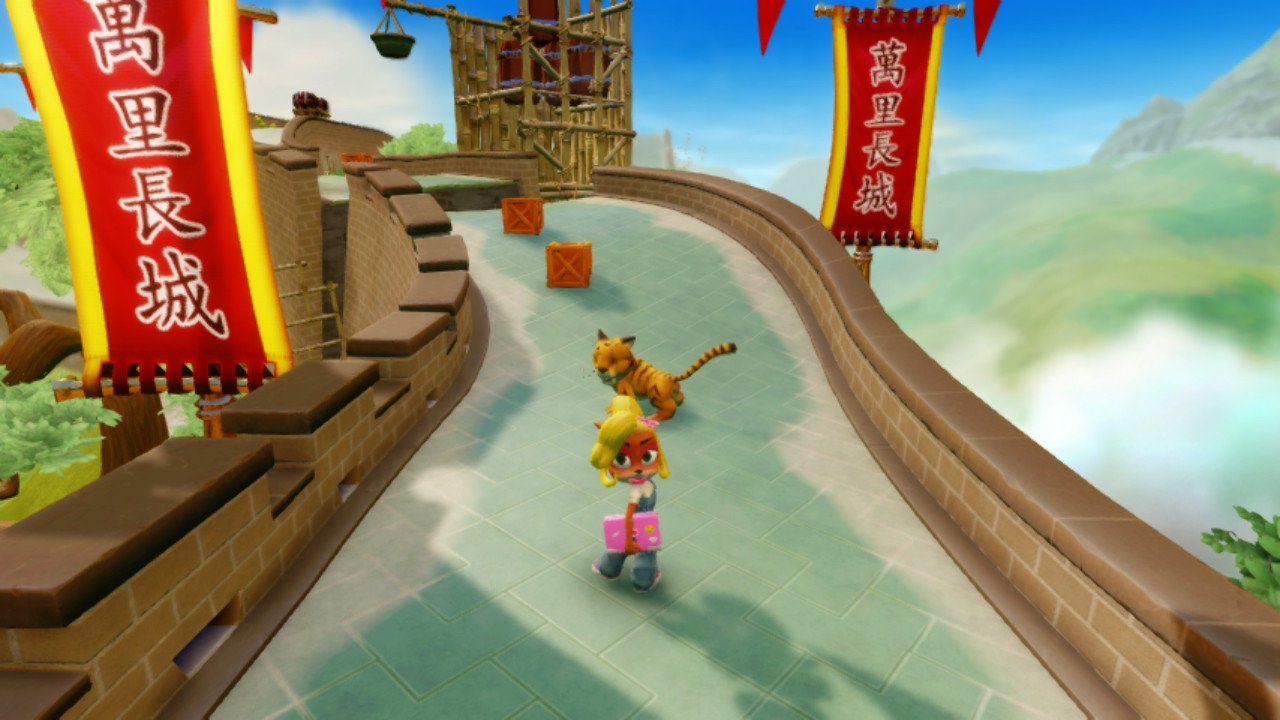 Crash Bandicoot N-Sane Trilogy Switch review screenshot - Racing along the Great Wall of China