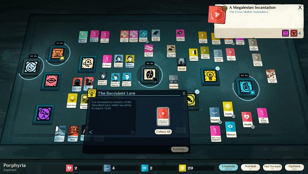 Cultist Simulator iOS review screenshot - A game in full swing