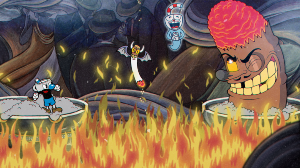 Cuphead Switch review screenshot - Fighting a cigar