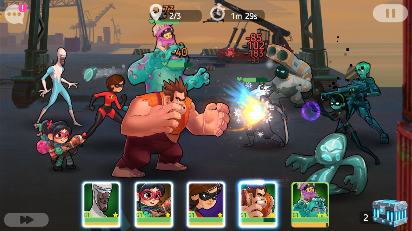 Disney Heroes: Battle Mode iOS review screenshot - A fight at the docks