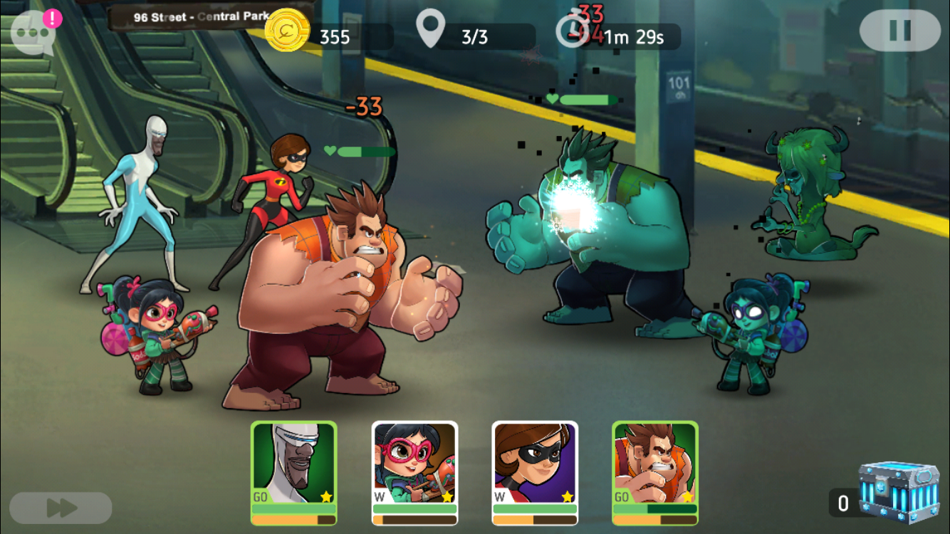 Disney Heroes: Battle Mode iOS review screenshot - One of the early battles