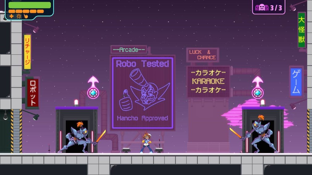 Double Cross Switch Screenshot Two Samurai Robots In A Japan Style Arena