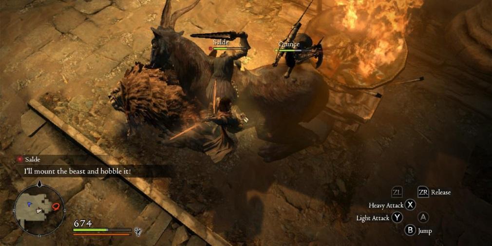 Dragon's Dogma: Dark Arisen Switch screenshot - Stabbing a big monster