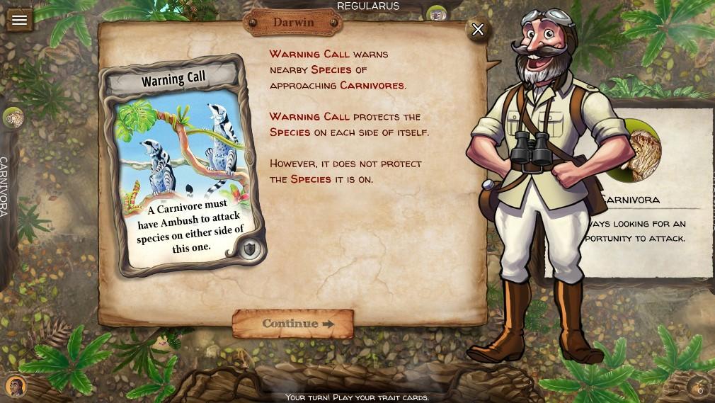 Evolution iOS screenshot - Explaining a card