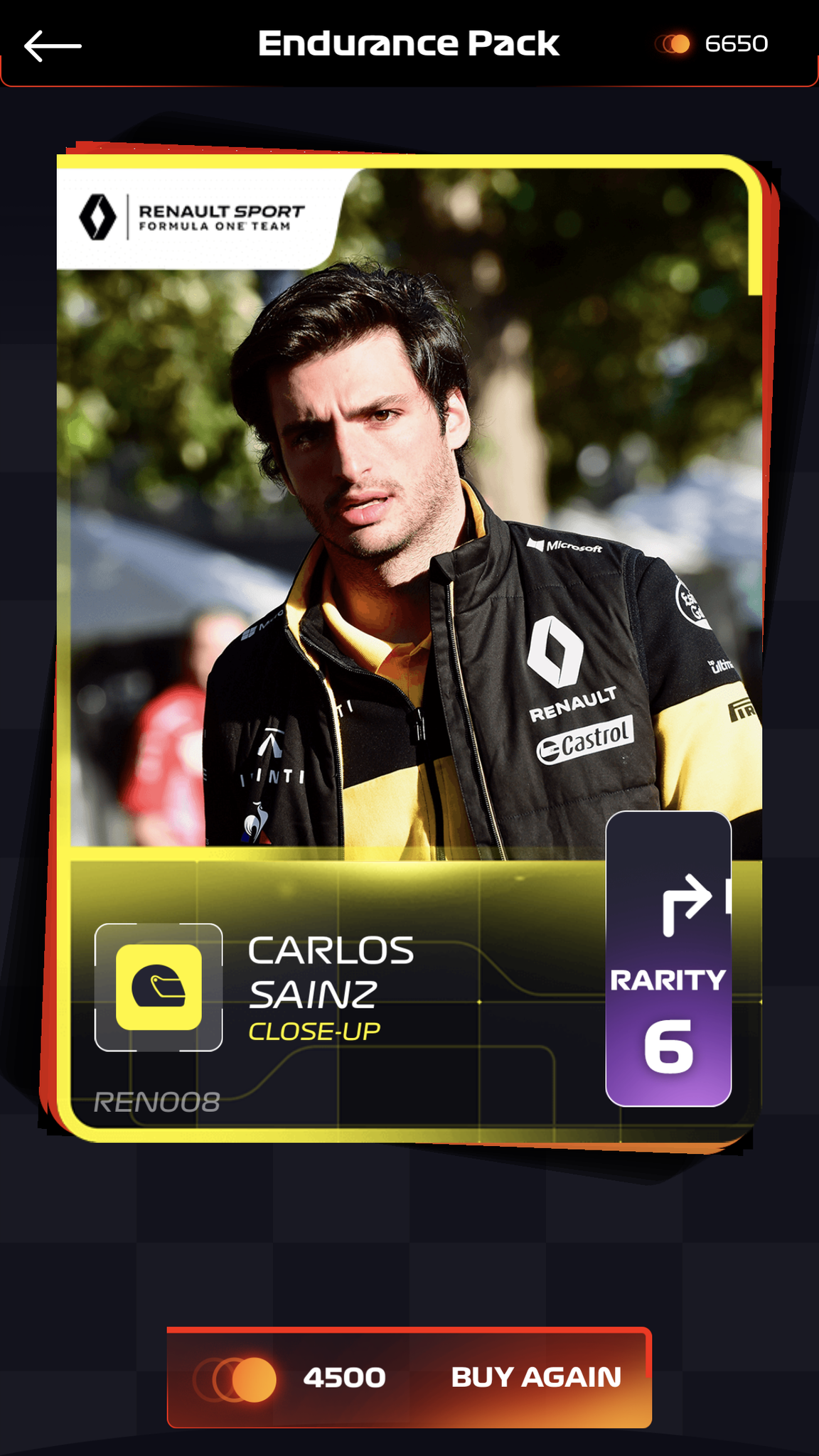 F1 Trading Card Game screenshot - Close up on a Carlos Sainz card