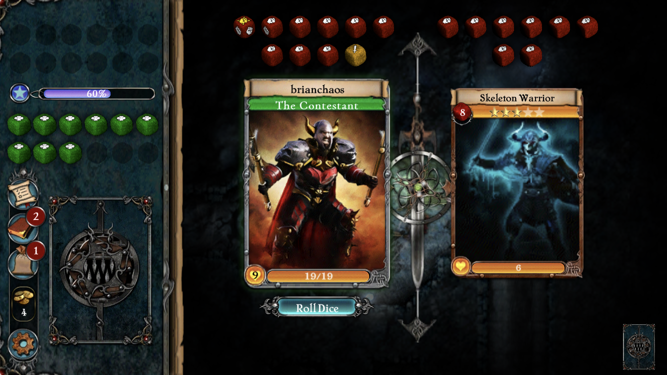 Fighting Fantasy Legends Portal iOS review screenshot - The Chaos Warrior gets in a fight