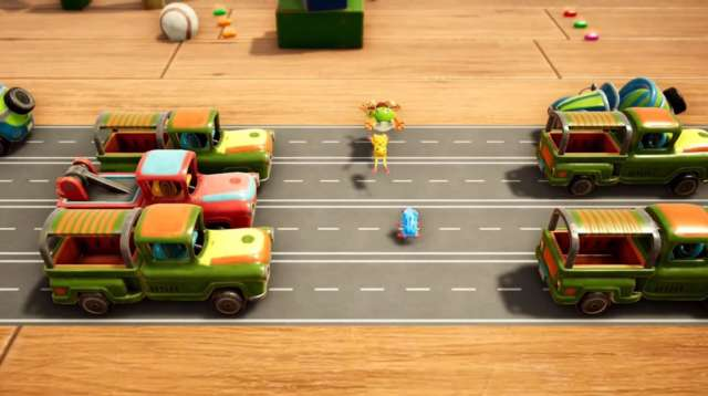 Frogger in Toy Town Apple Arcade screenshot - Crossing a road