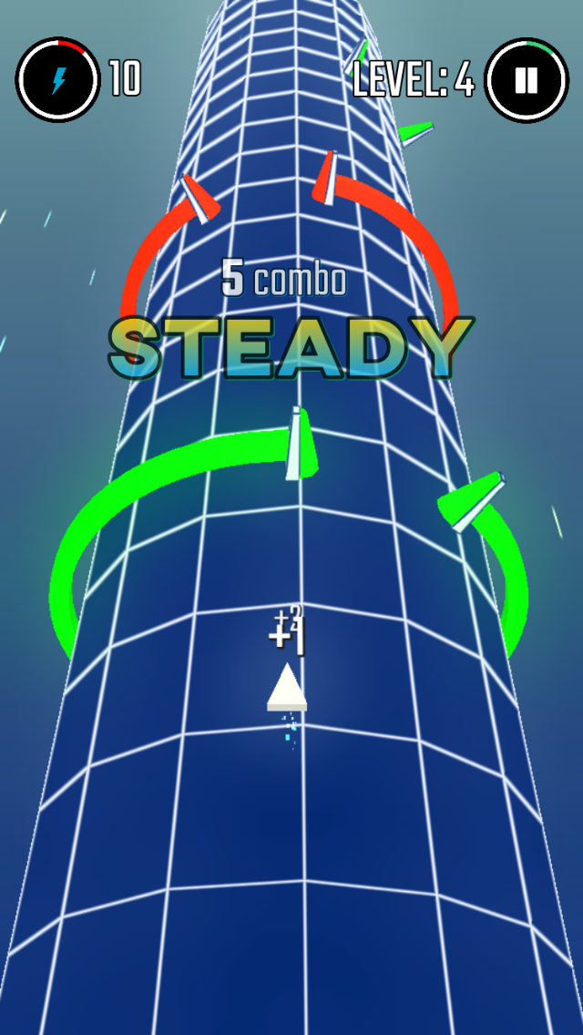 Geometry Slalom iOS screenshot - Heading for a green gate