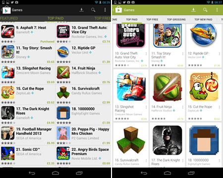 Google Play gets a fresh look - but shows fewer apps per