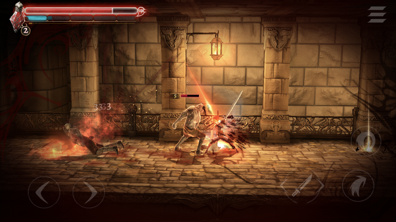 Grimvalor iOS review screenshot - Taking damage surrounded by flame