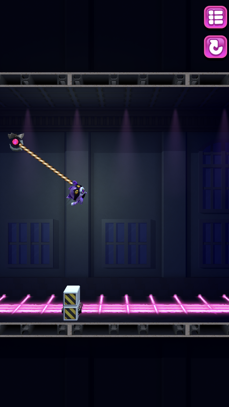 Hook Crook iOS review screenshot - Swinging over the lasers