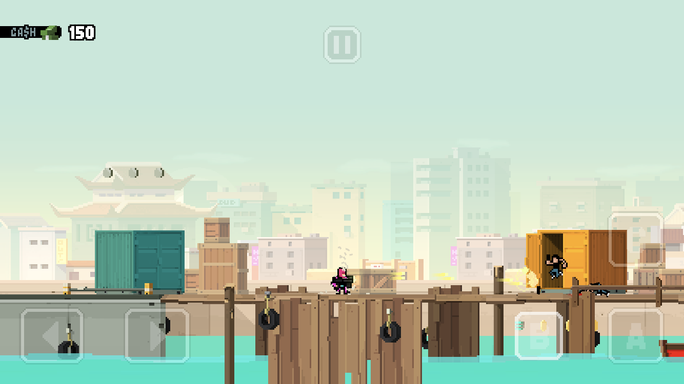 Hot Guns iOS review screenshot - Hanging out at the docks