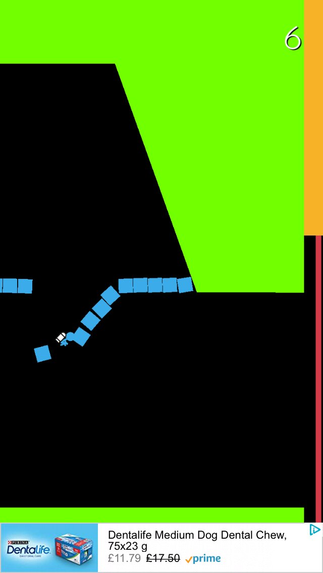 Jetpack vs Colors iOS screenshot - Smashing through a blue wall