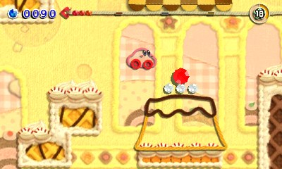 Kirby's Extra Epic Yarn 3DS Screenshot Kirby As A Car