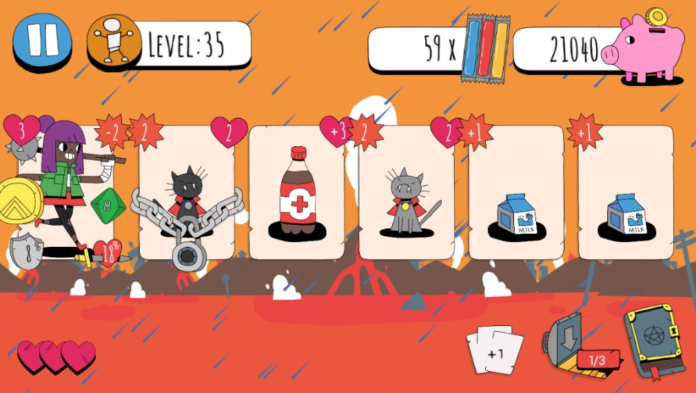 Knights of the Card Table iOS screenshot - Fighting lava cats