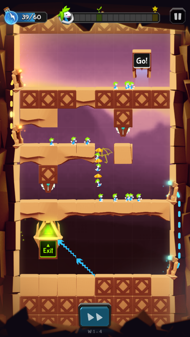 Lemmings iOS review screenshot - One of the early levels
