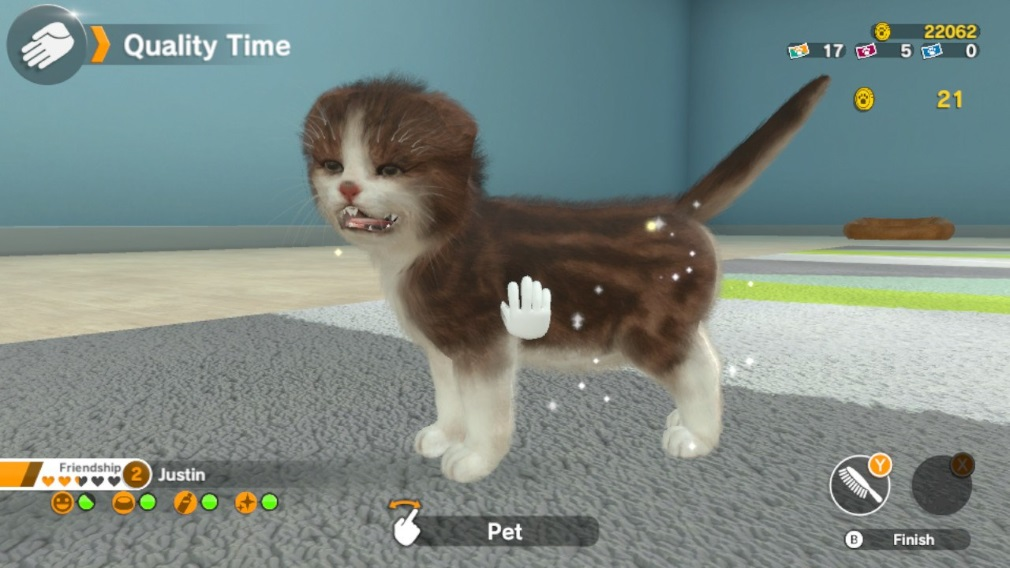 Little Friends: Dogs & Cats Switch Screenshot Stroking a Scary Cat