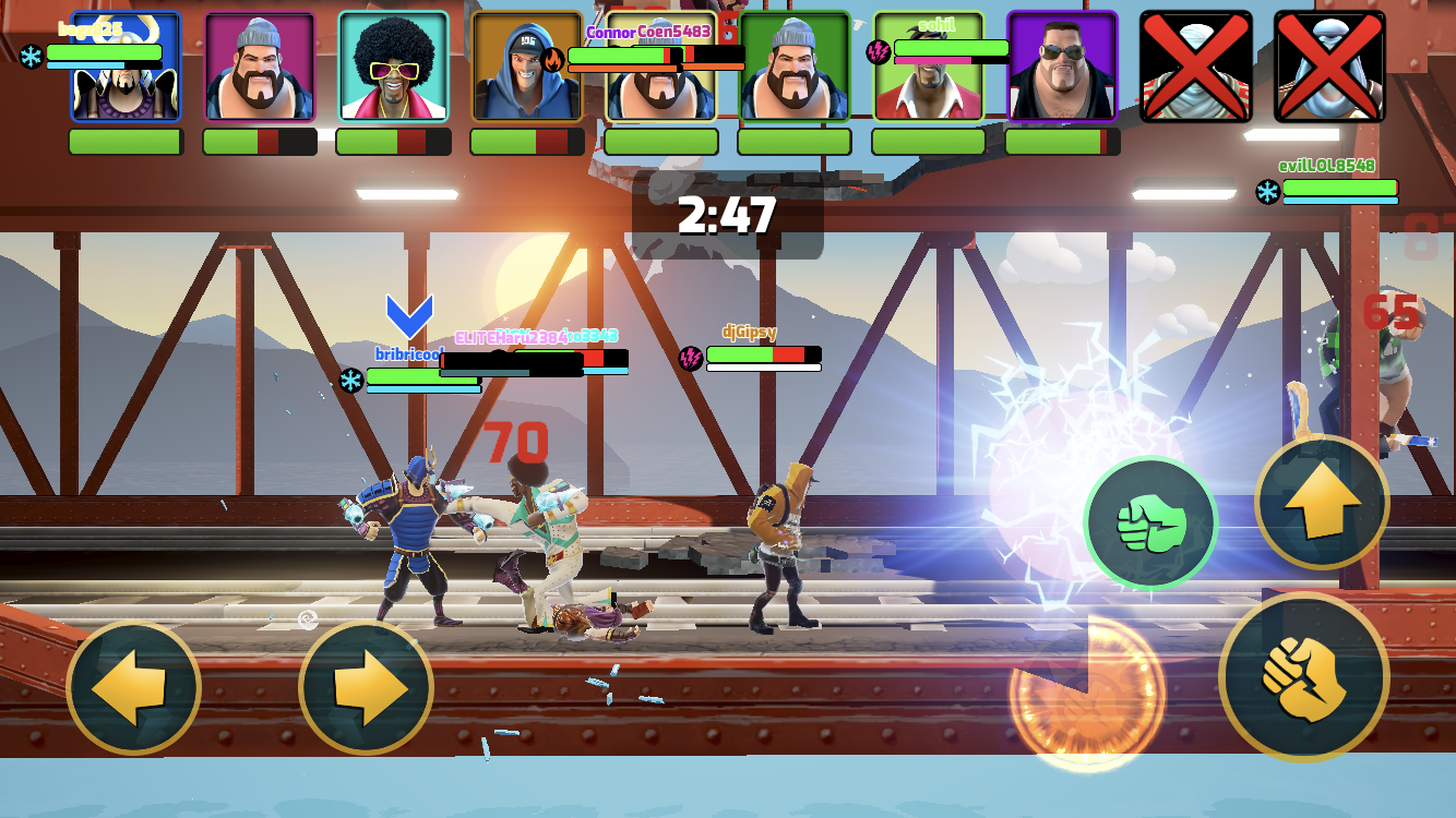 Mayhem Combat iOS review screenshot - Fighting on the train tracks