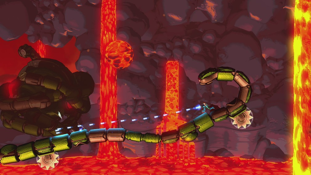 Mechstermination Force Switch review screenshot - Running along a snake