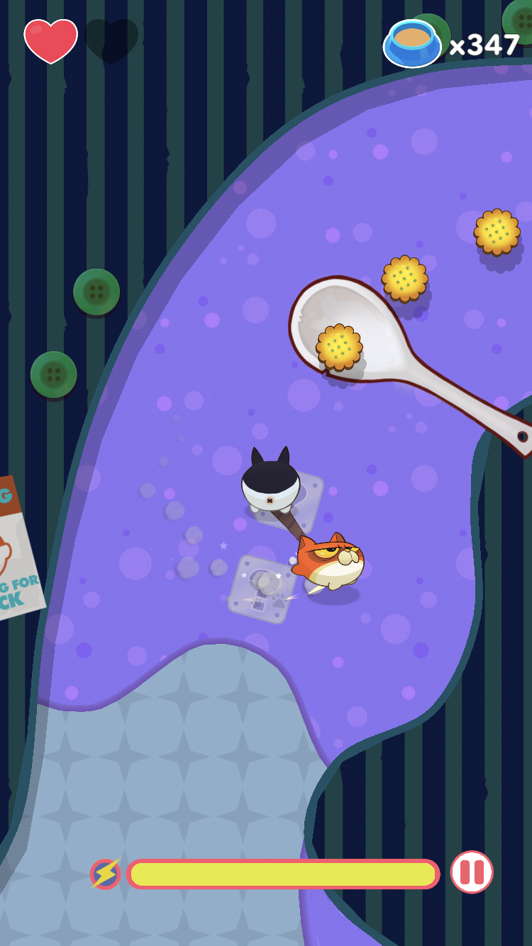 Meowoof iOS review screenshot - Jumping on a spoon