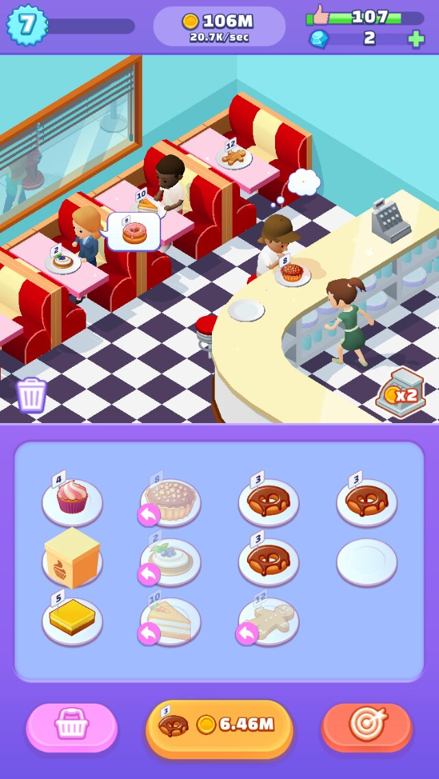 Merge Bakery iOS screenshot - Feeding some customers