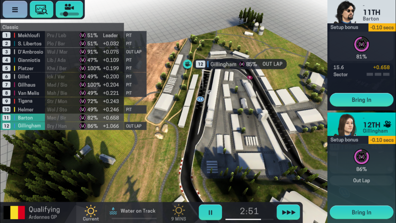 Motorsport Manager Mobile 3 iOS review screenshot - A hairpin bend