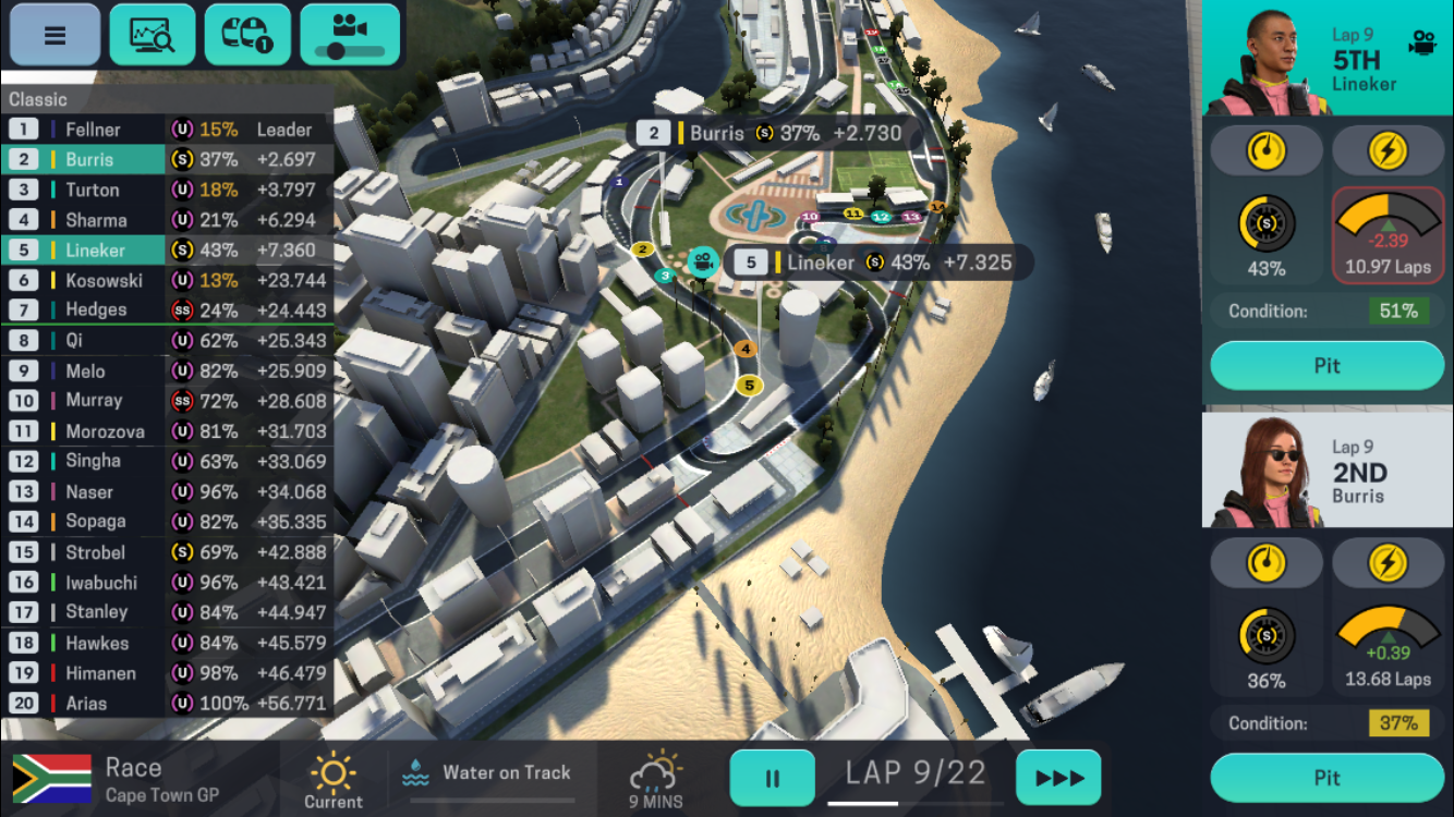 Motorsport Manager Mobile 3 iOS review screenshot - Driving in a race