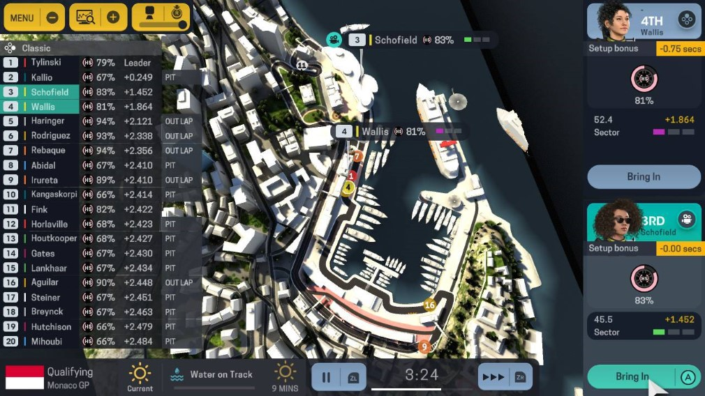 Motorsport Manager Switch Screenshot Overhead View of Track