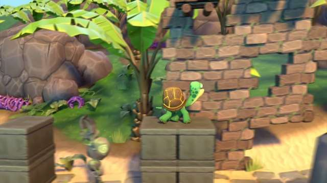 Mr Turtle Apple Arcade screenshot - Stood on a platform