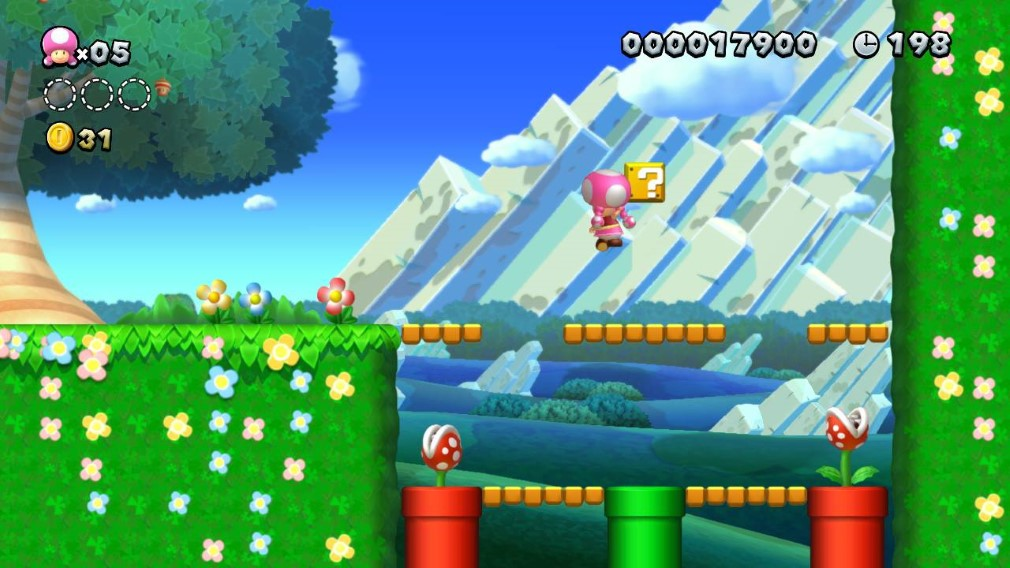 New Super Mario Bros U Deluxe Switch Screenshot Toadette Jumping Near Piranha Plants