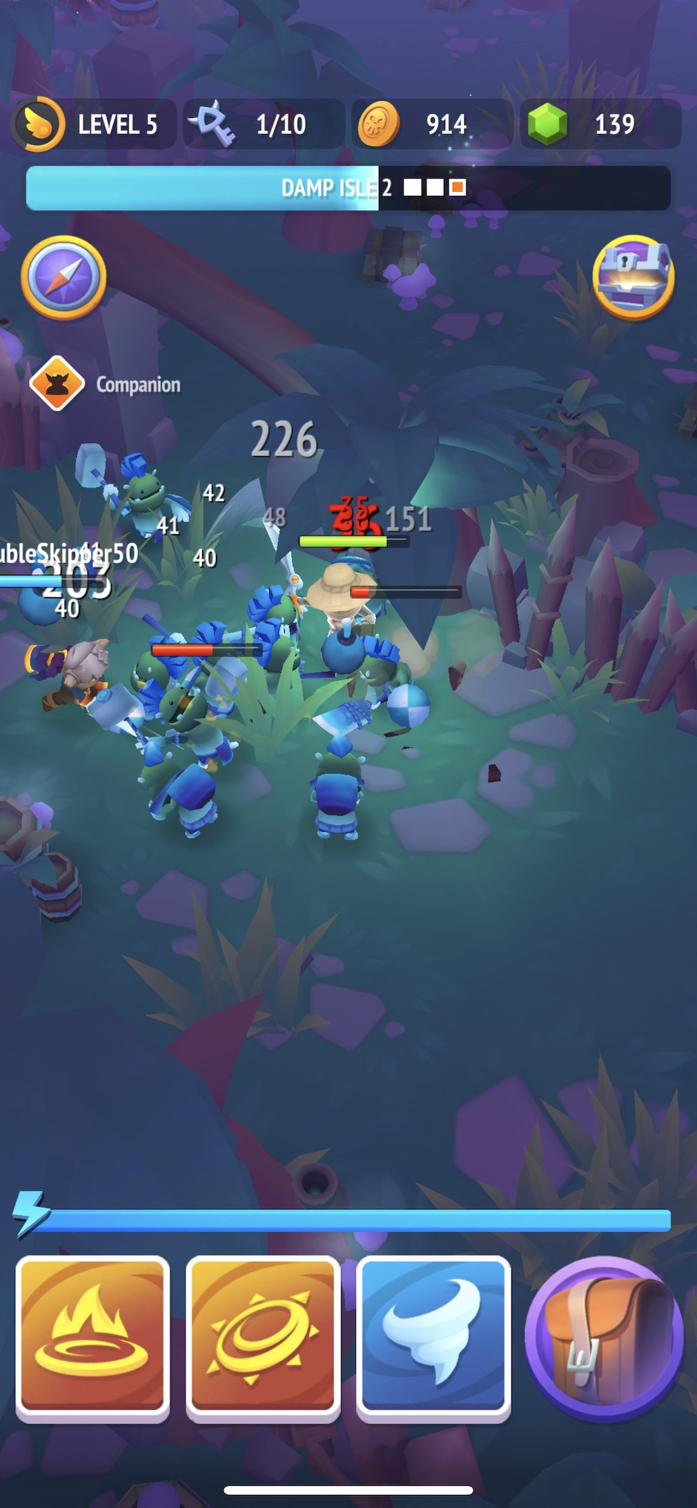 Nonstop Knight 2 iOS screenshot - Attacking in a night forest