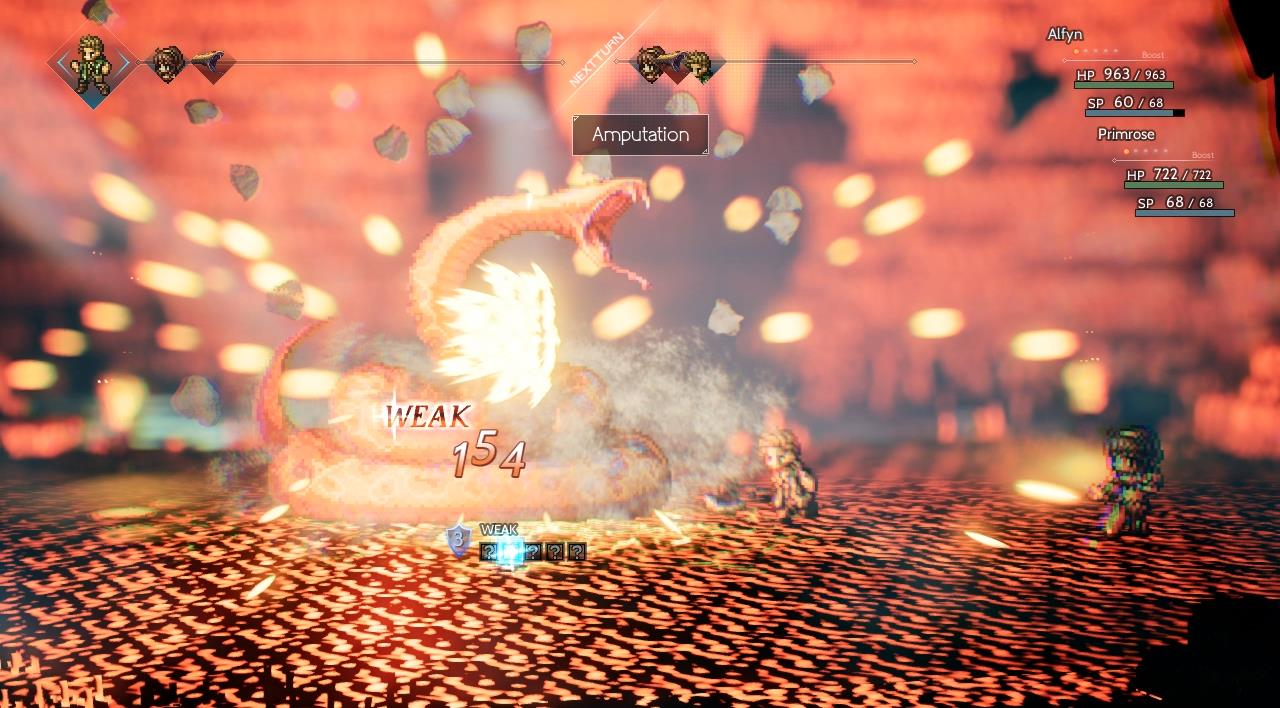 Octopath Traveler Switch review screenshot - A dramatic attack