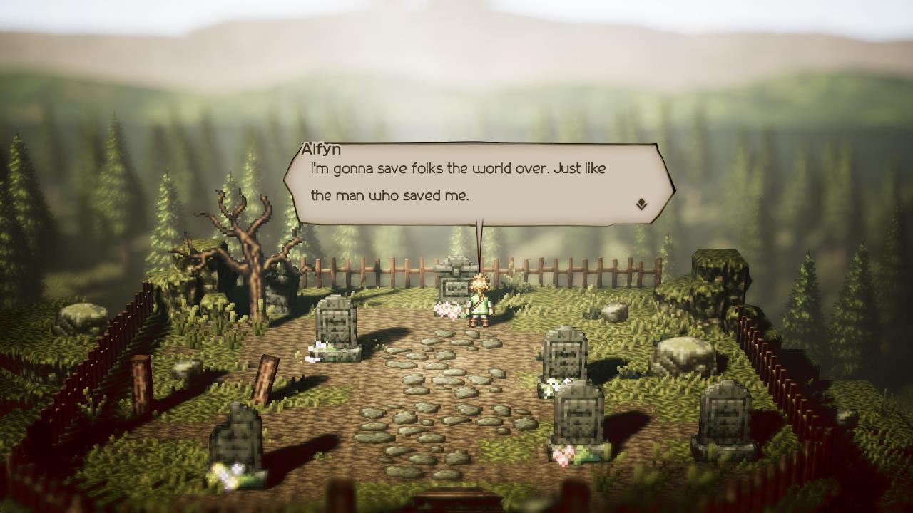 Octopath Traveler Switch review screenshot - A graveyard