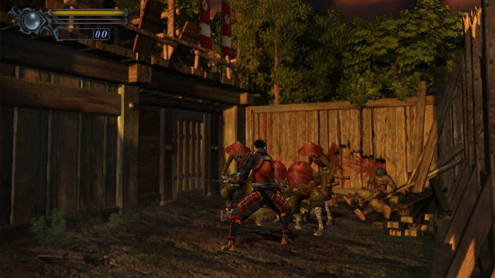 Onimusha Warlords Switch Screenshot Fighting Demons Near A Barricade