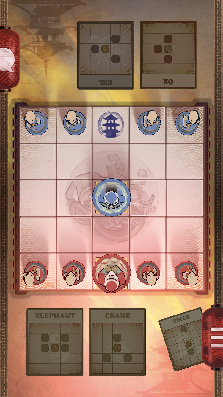 Onitama: The Board Game iOS review screenshot - The first move
