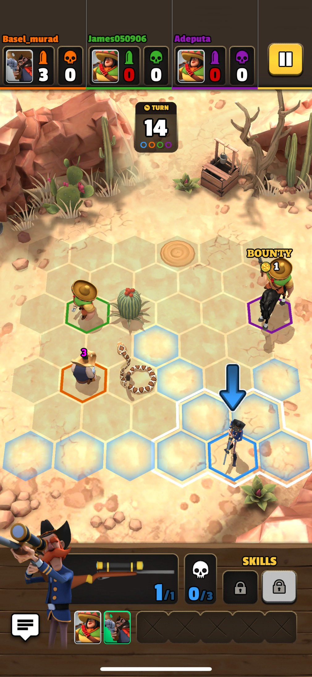 Pocket Cowboys iOS review screenshot - Playing as a sniper