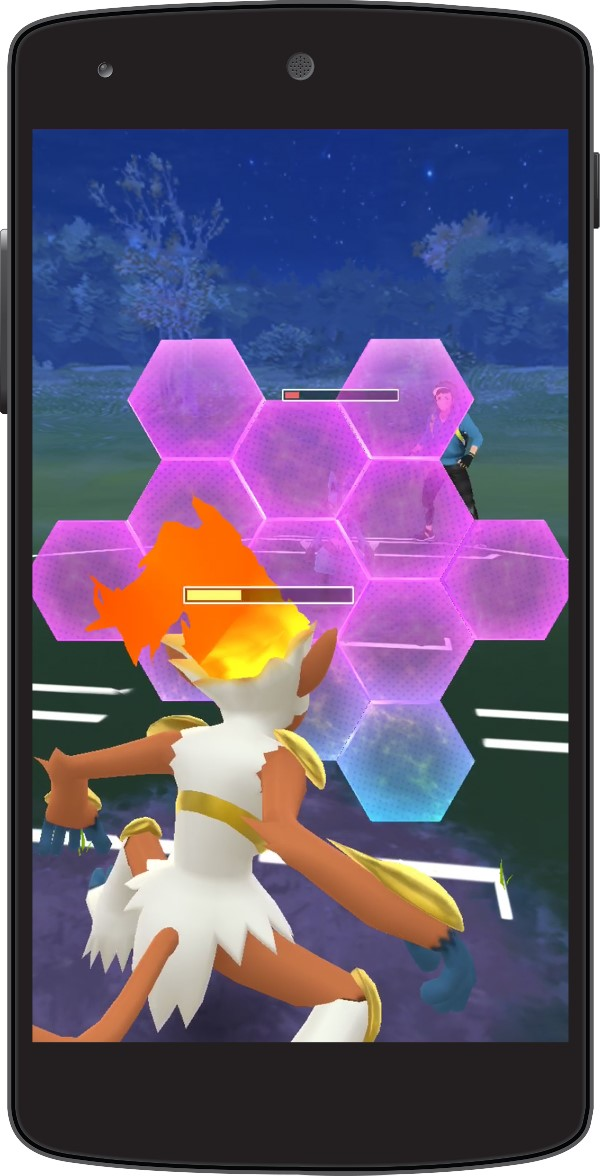 Pokemon GO Trainer Battle Using A Shield