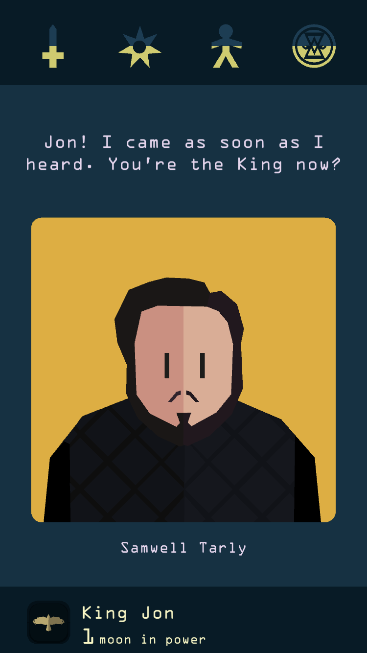 Reigns: Game of Thrones iOS review screenshot - Samwell Tarly
