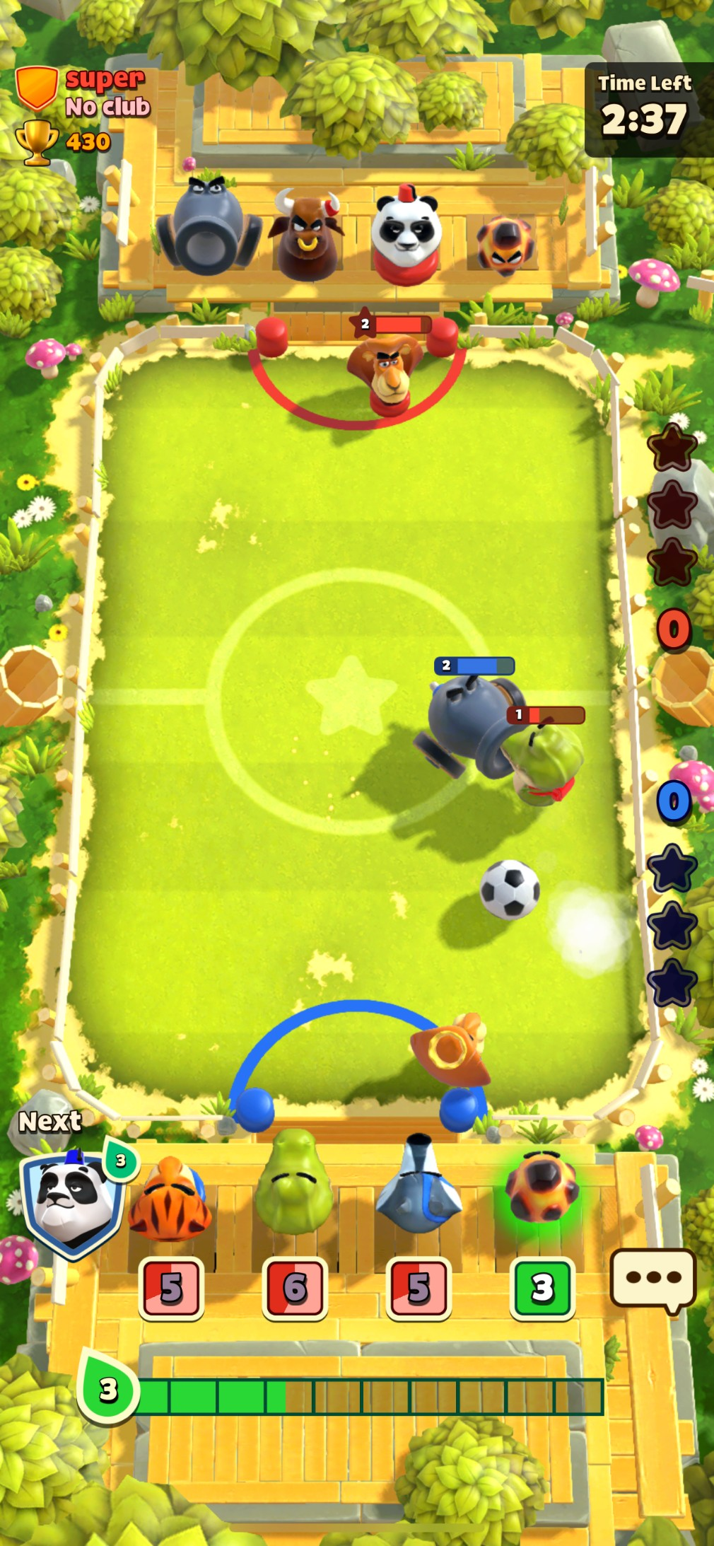 Rumble Stars Soccer iOS screenshot - Playing at the start of a match